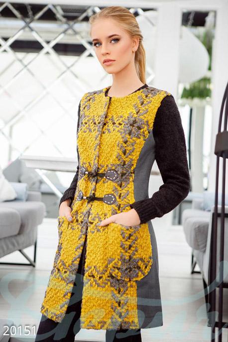 Купить Верхняя одежда / Удлиненные, Удлиненный демисезонный жилет, Жилет-20151, GEPUR, серо-горчичный