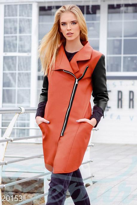 Купить Верхняя одежда / Кожаные куртки, Плотная экокожаная куртка, Куртка-20153, GEPUR, оранжево-черный