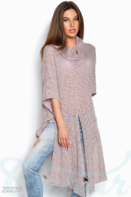 Купить Верхняя одежда / Плащи и кардиганы, Тонкий асимметричный кардиган, Кардиган-20239, GEPUR, серо-розовый меланж