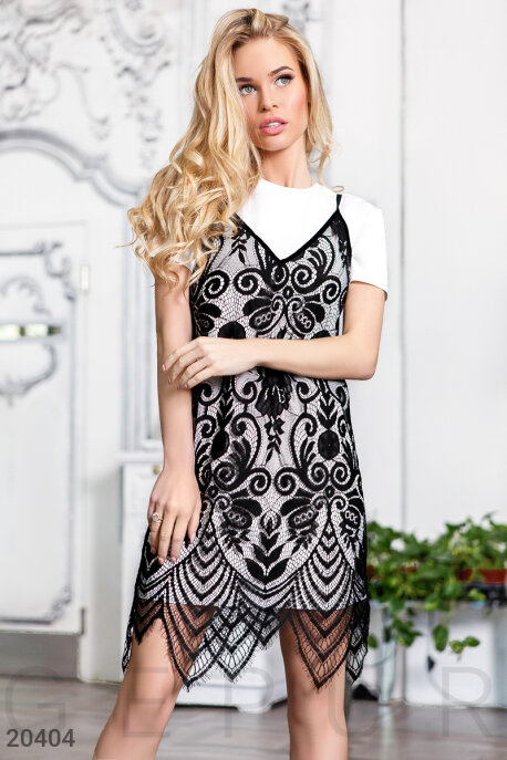 Купить Платья / Мини, Эксклюзивный комплект двойка, Комплект-20404, GEPUR, черно-белый