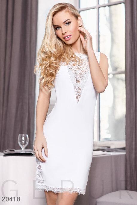 Купить Платья / Мини, Платье со вставками, Платье-20418, GEPUR, белый