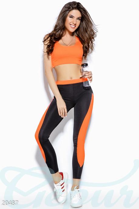 Купить Спортивные костюмы / С леггинсами, Фитнес костюм-двойка, Костюм-20487, GEPUR, черно-оранжевый неон