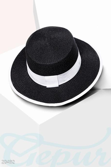 Купить Перчатки, шарфы, шапки / Шляпки, Классическая соломенная шляпа, Шляпа-20492, GEPUR, черно-белый