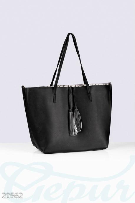 Купить Сумки, клатчи, кошельки / Сумки, Большая двухсторонняя сумка, Сумка-20562, GEPUR, черно-белый