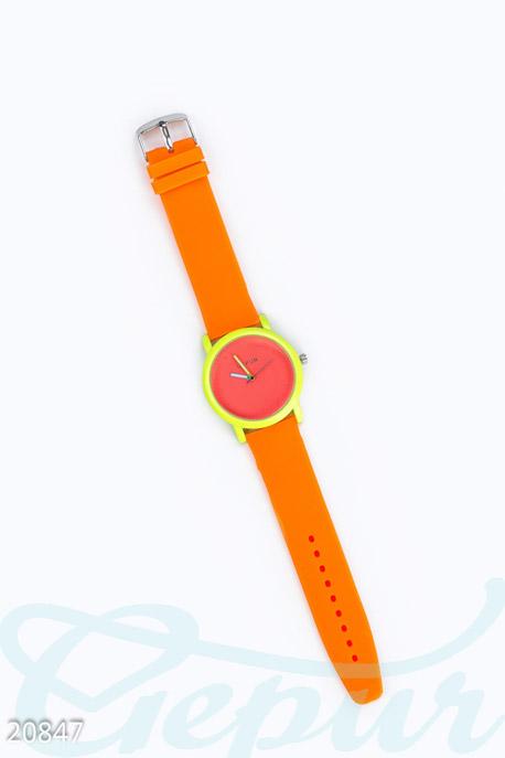 Купить Аксессуары / Каучуковые, Яркие силиконовые часы, Часы-20847, GEPUR, оранжевый-неон