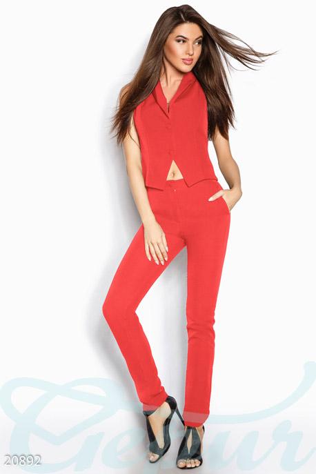 Купить Костюмы и комплекты / Низ брюки, Стильный однотонный костюм, Костюм-20892, GEPUR, красный