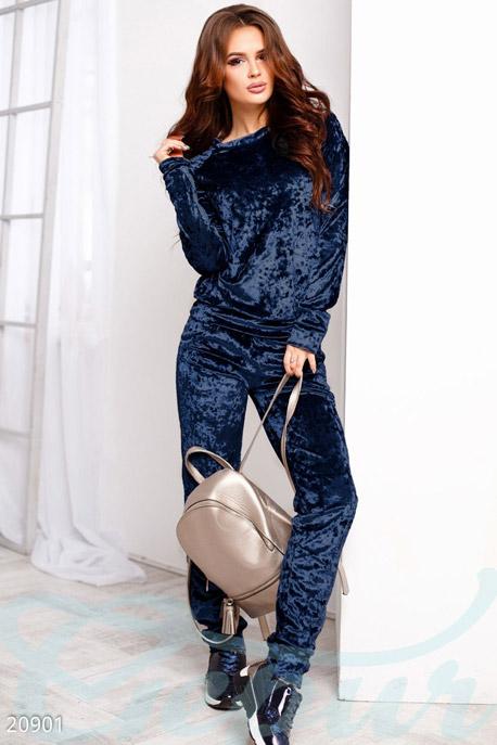 Купить Спортивные костюмы / Со штанами, Мраморный спортивный костюм, Костюм-20901, GEPUR, темно синий