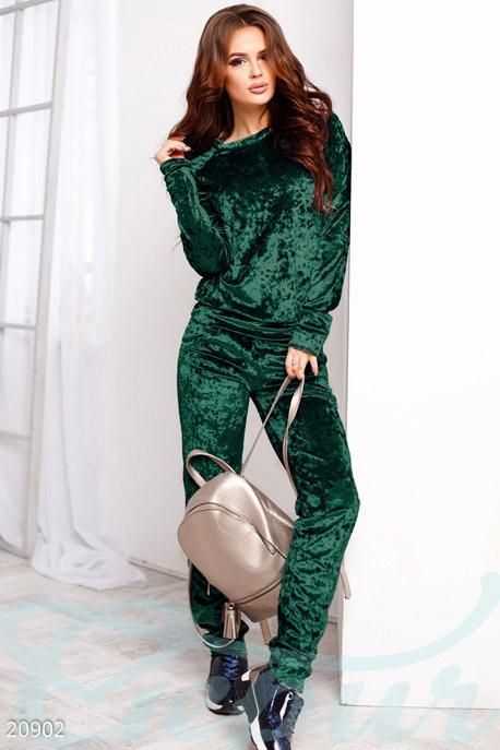 Купить Спортивные костюмы / Со штанами, Мраморный спортивный костюм, Костюм-20902, GEPUR, темно зеленый
