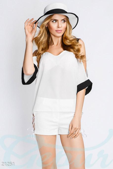 Купить Блузы, рубашки, Свободная летняя блуза, Блуза-21251, GEPUR, бело-черный