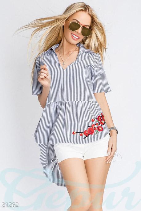 Асимметричная блуза полоска