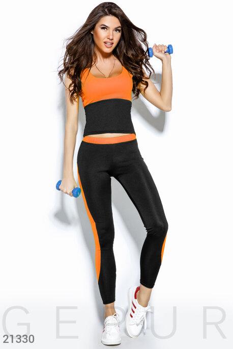 Купить Спортивные костюмы / С леггинсами, Фитнес костюм-двойка, Костюм-21330, GEPUR, оранжевый неон