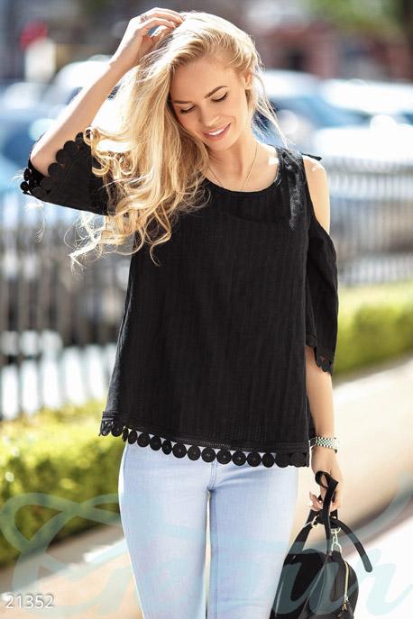 Купить Блузы, рубашки, Легкая батистовая блуза, Блуза-21352, GEPUR, черный