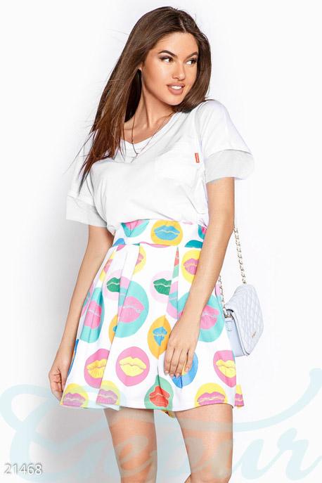 Купить Юбки / Полусолнце, Летняя юбка губы, Юбка-21468, GEPUR, бело-голубой