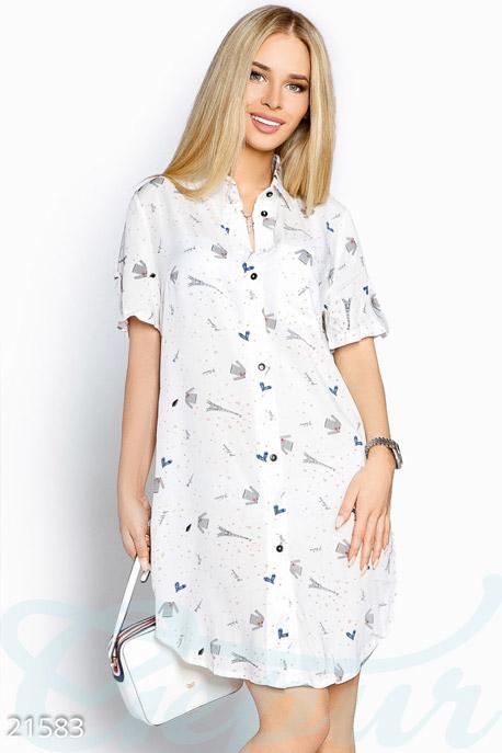 Купить Платья / Мини, Платье-рубашка принт, Платье-21583, GEPUR, белый