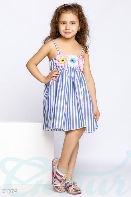 Купить Детская одежда, Сарафан с аппликацией, Сарафан-21694, GEPUR, сине-белый