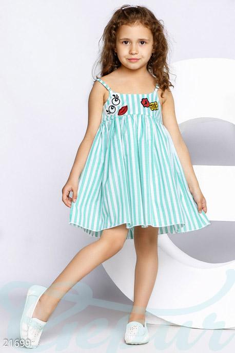 Купить Детская одежда, Сарафан с нашивками, Сарафан-21699, GEPUR, мятно-белый
