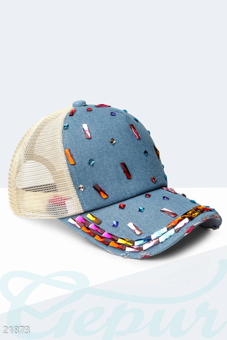 Купить Перчатки, шарфы, шапки / Кепки, Бейсболка с камнями, Кепка-21873, GEPUR, синий