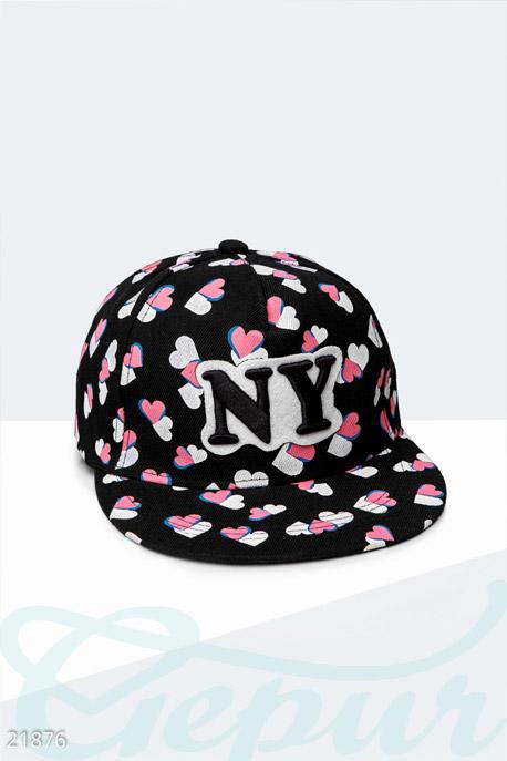 Купить Перчатки, шарфы, шапки / Кепки, Стильная бейсболка NY , Кепка-21876, GEPUR, черно-розовый