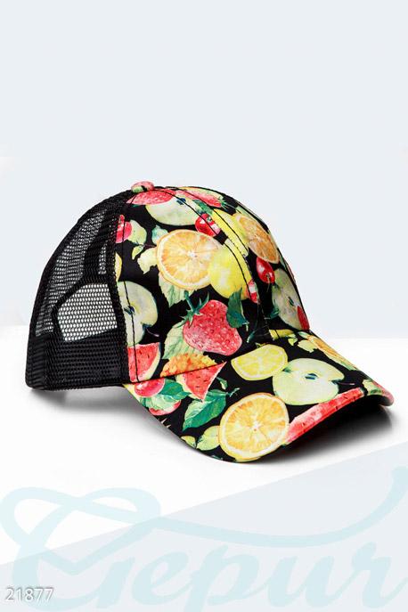 Купить Перчатки, шарфы, шапки / Кепки, Бейсболка с фруктами, Кепка-21877, GEPUR, черно-желтый