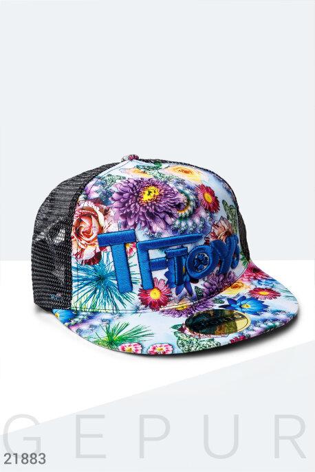 Купить Перчатки, шарфы, шапки / Кепки, Бейсболка цветочный принт, Кепка-21883, GEPUR, черно-синий