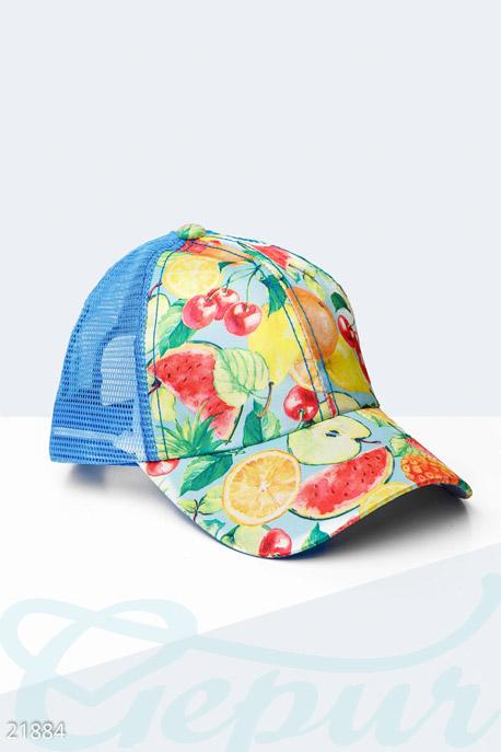 Купить Перчатки, шарфы, шапки / Кепки, Бейсболка с фруктами, Кепка-21884, GEPUR, желто-голубой