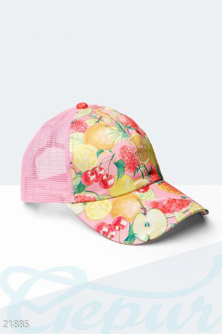 Купить Перчатки, шарфы, шапки / Кепки, Бейсболка с фруктами, Кепка-21885, GEPUR, розово-желтый