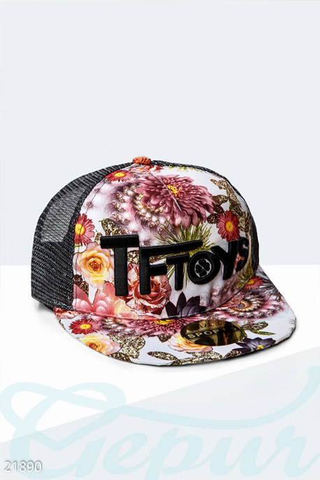 Купить Перчатки, шарфы, шапки / Кепки, Бейсболка цветочный принт, Кепка-21890, GEPUR, черный