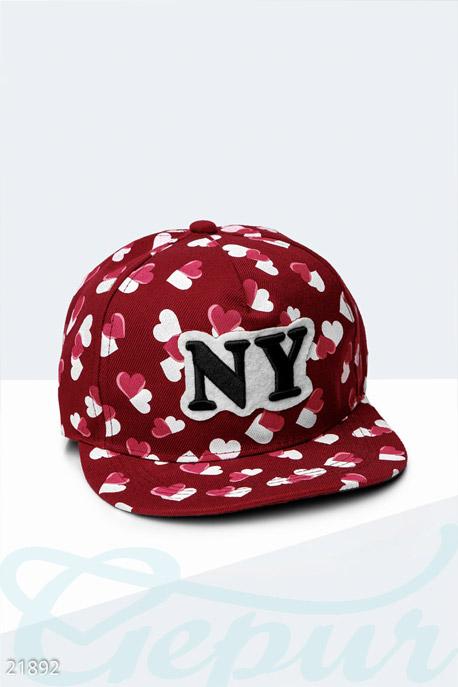 Купить Перчатки, шарфы, шапки / Кепки, Стильная бейсболка NY , Кепка-21892, GEPUR, бордовый