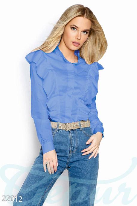 Купить Блузы, рубашки, Рубашка с воланами, Рубашка-22012, GEPUR, голубой