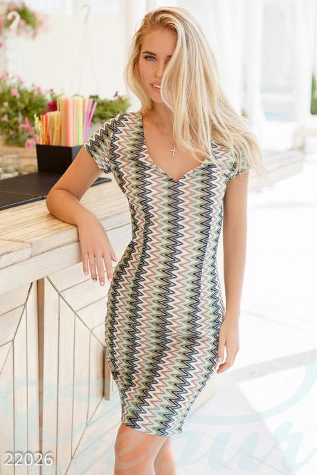 Купить Платья / Мини, Облегающее платье-мини, Платье-22026, GEPUR, бежево-зеленый