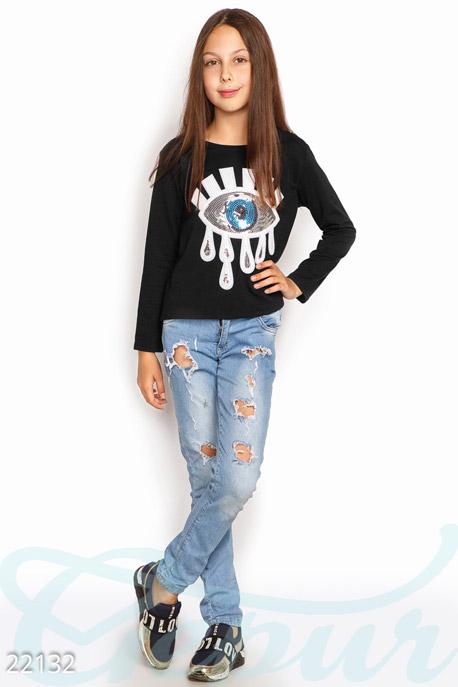 Купить Детская одежда, Детский свитшот аппликация, Свитшот-22132, GEPUR, черный