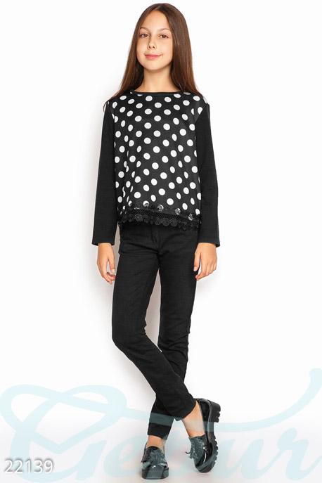 Купить Детская одежда, Детский свитшот горошек, Свитшот-22139, GEPUR, черно-белый
