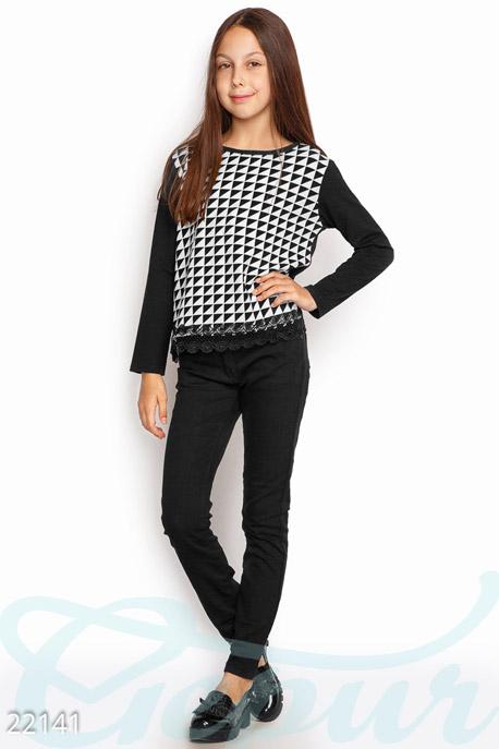 Купить Детская одежда, Детский свитшот Геометрия , Свитшот-22141, GEPUR, черно-белый