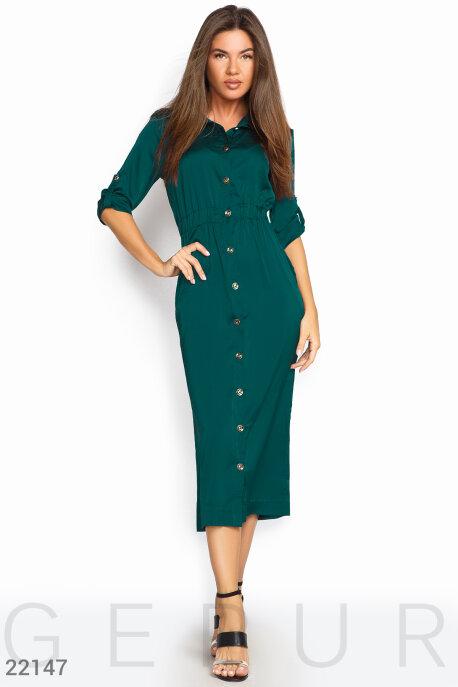 Купить Платья / Миди, Шелковое платье-рубашка, Платье-22147, GEPUR, морская волна