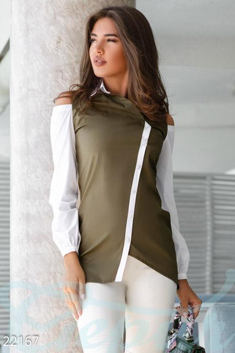 Купить Блузы, рубашки, Оригинальная двухцветная рубашка, Рубашка-22167, GEPUR, зелено-белый