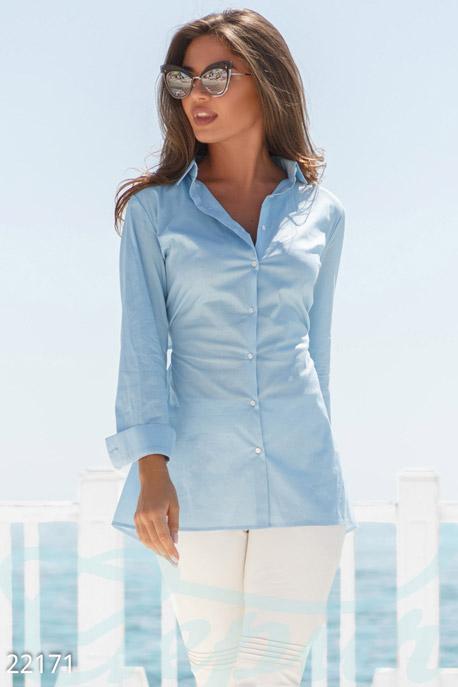 Купить Блузы, рубашки, Однотонная рубашка-обманка, Рубашка-22171, GEPUR, голубой