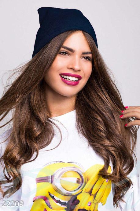 Купить Перчатки, шарфы, шапки / Шапки, Теплая вязаная шапка, Шапка-22209, GEPUR, темно-синий