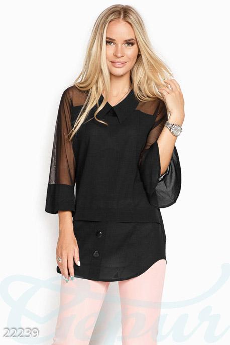 Купить Блузы, рубашки / Большие размеры, Свободная женская блуза, Блуза -22239, GEPUR, черный