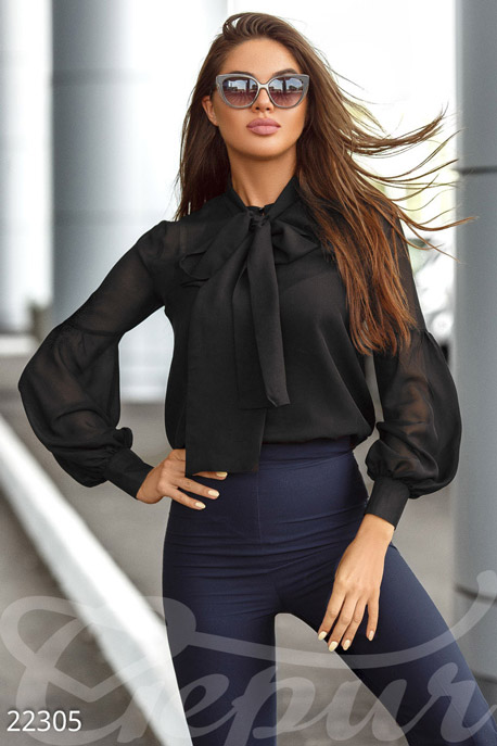 Купить Блузы, рубашки, Модная шифоновая блуза, Блуза-22305, GEPUR, черный