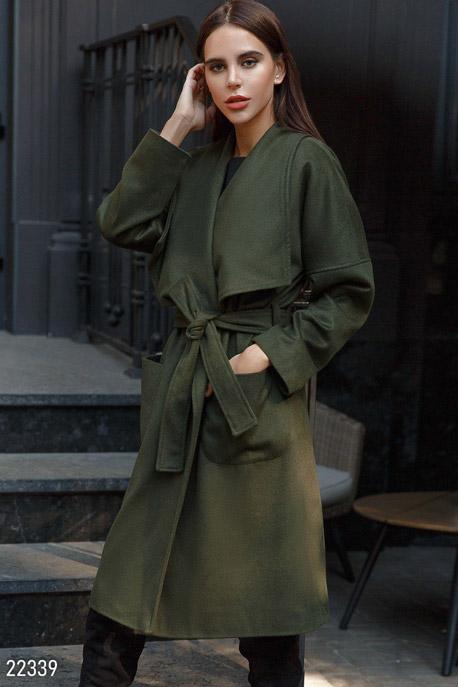 Купить Верхняя одежда / Premium, Стильное шерстяное пальто, Пальто-22339, GEPUR, темно-зеленый