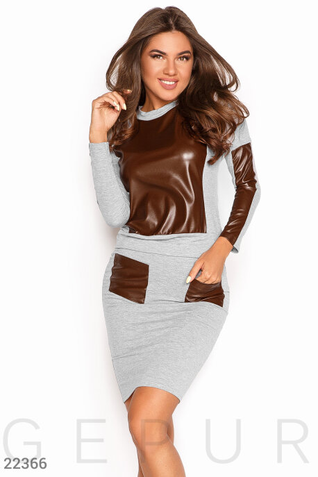 Купить Костюмы и комплекты / Низ юбка, Костюм со вставками, Костюм-22366, GEPUR, серо-коричневый