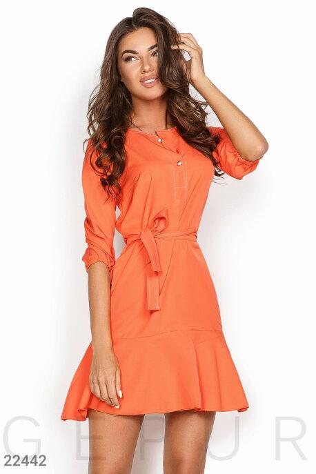 Купить Платья / Мини, Короткое романтичное платье, Платье-22442, GEPUR, ярко-оранжевый
