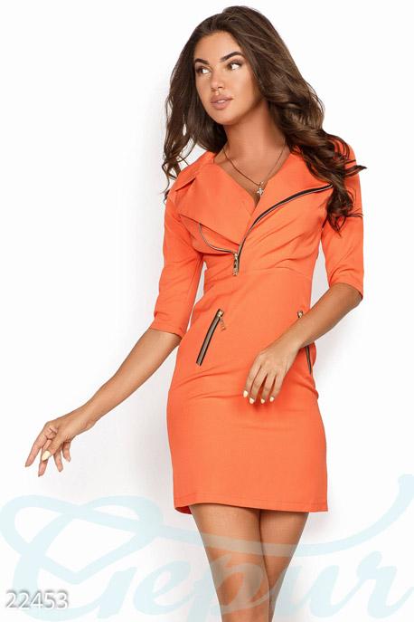 Купить Платья / Мини, Короткое осеннее платье, Платье-22453, GEPUR, ярко-оранжевый