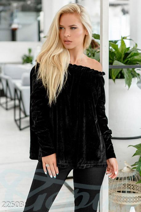 Купить Блузы, рубашки, Женская велюровая блуза, Блуза-22503, GEPUR, черный