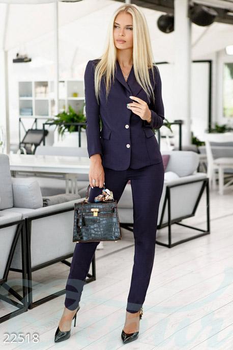 Купить Костюмы и комплекты / Низ брюки, Облегающий деловой костюм, Костюм-22518, GEPUR, темно-синий