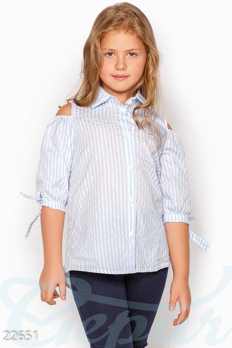 Купить Детская одежда, Детская школьная рубашка, Рубашка-22651, GEPUR, бело-голубой