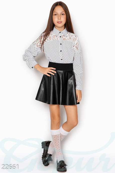 Купить Детская одежда, Контрастная детская блузка, Блуза-22661, GEPUR, бело-черный