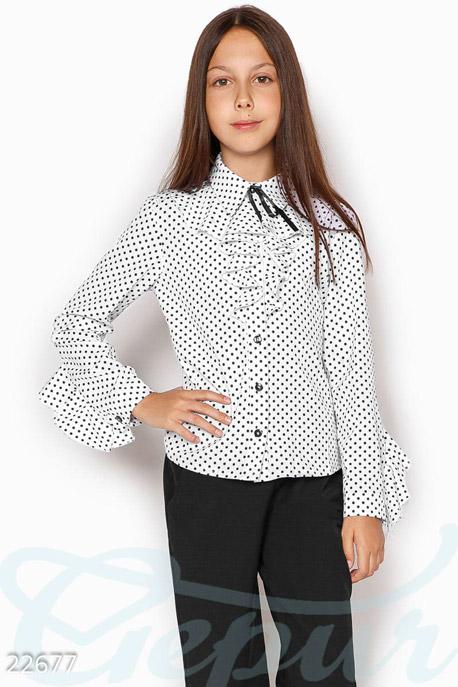 Купить Детская одежда, Детская блузка жабо, Блуза-22677, GEPUR, бело-черный