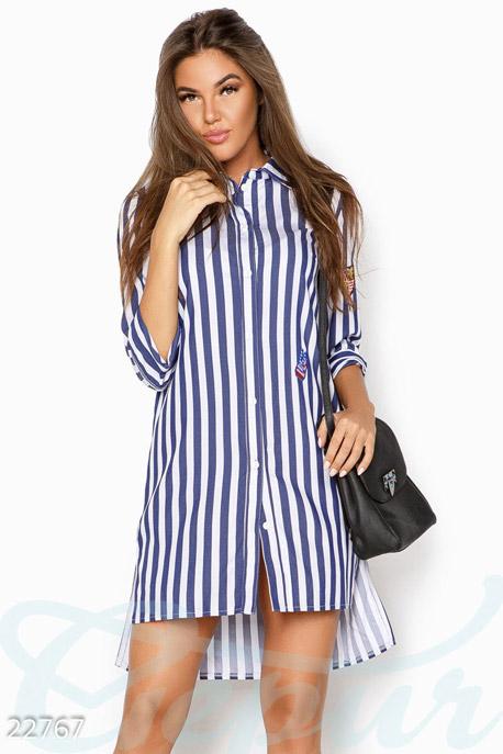 Купить Блузы, рубашки, Полосатая удлиненная рубашка, Рубашка-22767, GEPUR, сине-белый