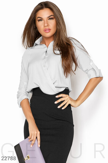 Блузы, рубашки, Стильная женская рубашка, Рубашка-22788, GEPUR, светло-серый  - купить со скидкой